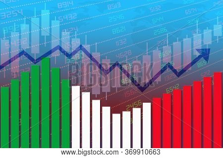3d Rendering Of Flag Of Italy On Bar Chart Concept Of Economic Recovery And Business Improving After