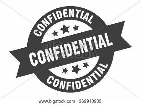 Confidential Sign. Confidential Black Round Ribbon Sticker