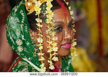 Happy Bride Rejoices And Smiles At Wedding Ceremony In Hindu Temple Indian Wedding. Holidays And Tra