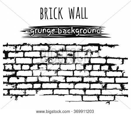Old Brick Wall. Brickwork Grunge Black And White Background. Vector Illustration