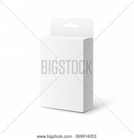 Template Box With Hang Tab Close View, Realistic Vector Illustration Isolated.