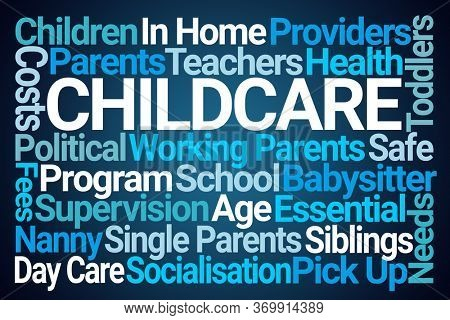 Childcare Word Cloud on Blue Background