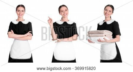 Collage With Photos Of Chambermaid On White Background. Banner Design