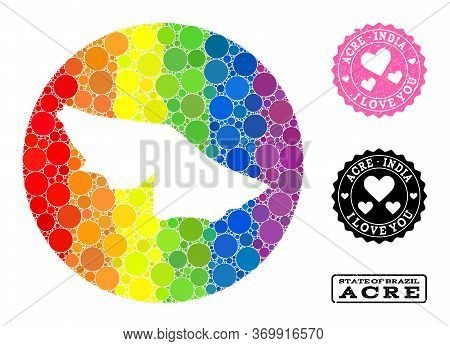 Vector Mosaic Lgbt Map Of Acre State With Round Items, And Love Scratched Stamp. Subtraction Circle