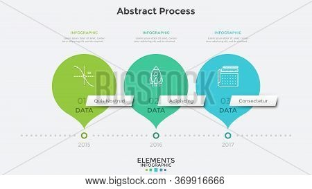 Horizontal Timeline With 3 Round Pointer-like Elements. Concept Of Three Milestones Of Companys Deve