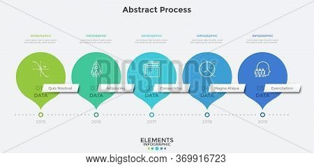 Horizontal Timeline With 5 Round Pointer-like Elements. Concept Of Five Milestones Of Companys Devel