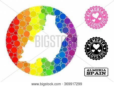 Vector Mosaic Lgbt Map Of Almeria Province From Circle Items, And Love Watermark Seal Stamp. Stencil