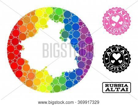 Vector Mosaic Lgbt Map Of Altai Republic From Spheric Items, And Love Watermark Seal. Stencil Circle
