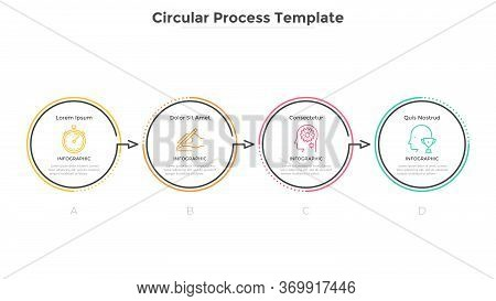 Horizontal Diagram With 4 Circular Elements Connected By Arrows. Concept Of Four Successive Stages O