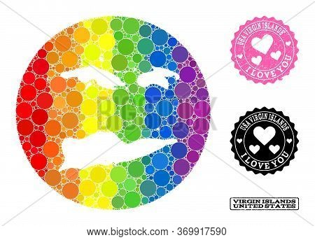 Vector Mosaic Lgbt Map Of American Virgin Islands With Round Elements, And Love Scratched Seal Stamp
