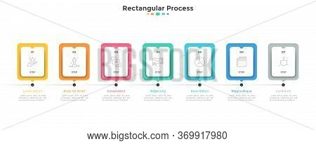 Progress Bar Or Timeline With Seven Paper White Rectangular Elements Or Cards Arranged In Horizontal