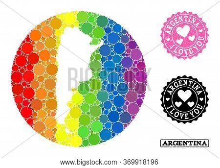 Vector Mosaic Lgbt Map Of Argentina With Round Blots, And Love Grunge Stamp. Subtraction Circle Map