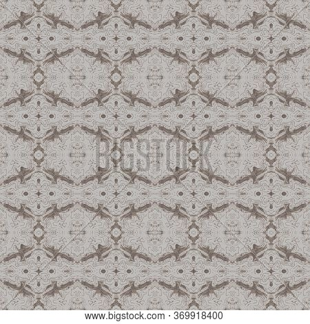 Abstraction From Broken Lines And Bends Of Beige And Brown With Gray.seamless Background, Vector.the