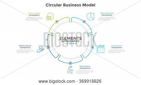Round Paper White Pie Chart Divided Into 5 Parts Or Sectors. Circular Business Model With Five Optio