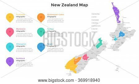 New Zealand Map Divided Into Regions. Territory Of Country With Regional Borders, Territorial Divisi