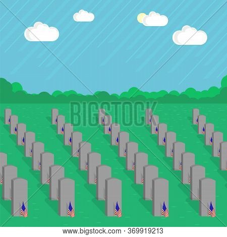 American Flag And Gravestones. Remember And Honor. Tombstone Set. Cemetaty, Graveyard And Stones.