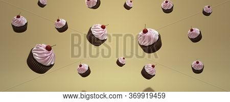 3d Image Of Cupcakes On A Yellow Background. Dessert Day. Sweets. Summer Banner. 3d Cupcake