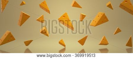 3d Image Of Sliced cheese On A Yellow Background. Cheese Day. Banner With Food. 3d cheese