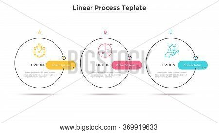 Three Circles Placed In Horizontal Row. Concept Of Strategic Development Plan With 3 Successive Step