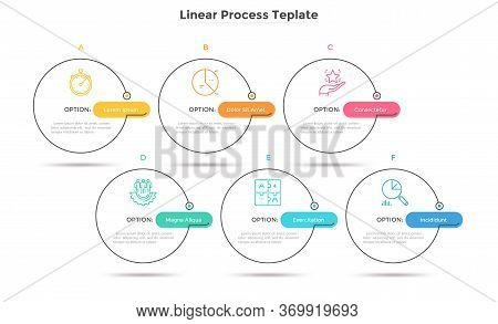 Six Circles Placed In Horizontal Row. Concept Of Strategic Development Plan With 6 Successive Steps