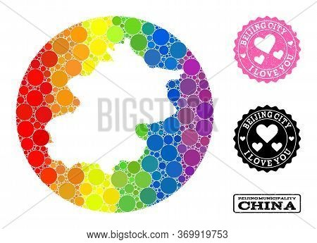 Vector Mosaic Lgbt Map Of Beijing Municipality With Spheric Dots, And Love Grunge Stamp. Subtraction