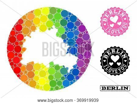 Vector Mosaic Lgbt Map Of Berlin City With Round Blots, And Love Scratched Seal Stamp. Subtraction C