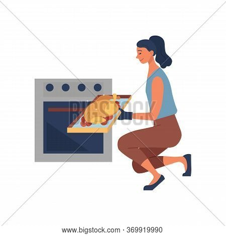 Concept Of Cooking Culinary Show. Happy Woman Is Cooking Food At The Kitchen. Woman Is Taking Baked