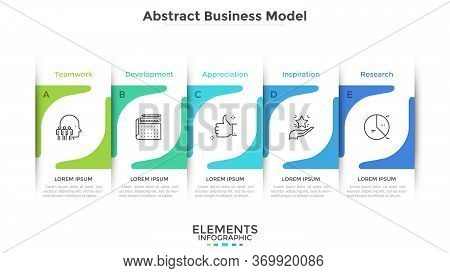 Five Paper White Overlapping Rectangular Elements Placed In Horizontal Row. Business Model With 5 Su