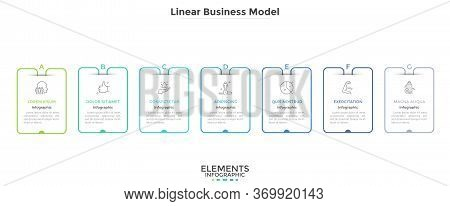 Chart With Seven Rectangular Elements Placed In Horizontal Row. Business Model With 7 Steps Of Start