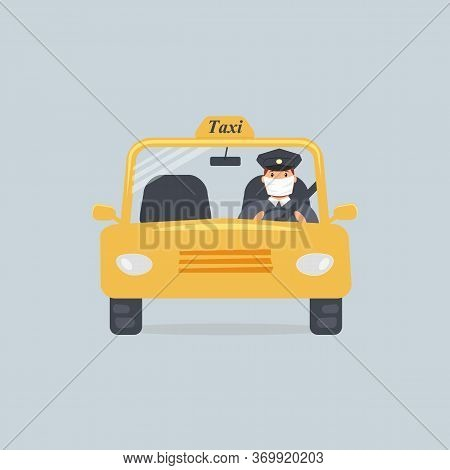 Taxi Driver In Protective Medical Mask Sitting In Front Seat In Cab Seen Through Windshield. For Adv