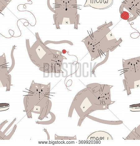 Cute Hand Drawn Cats In Various Moods And Pastime Vector Seamless Pattern On Isolated Background.