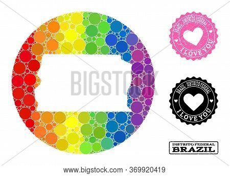 Vector Mosaic Lgbt Map Of Brazil - Distrito Federal Of Round Items, And Love Rubber Stamp. Subtracti