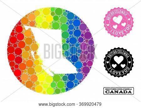 Vector Mosaic Lgbt Map Of British Columbia Province Of Circle Items, And Love Watermark Seal. Stenci