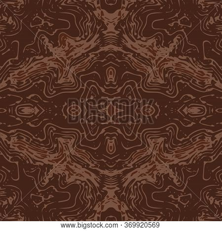 Abstraction Of Broken Lines And Bends Of Brown And Beige Color On A Brown Background. Seamless Backg