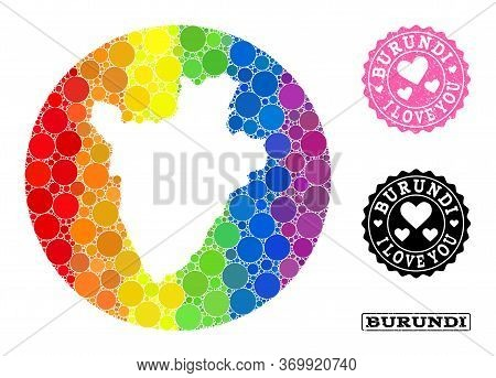 Vector Mosaic Lgbt Map Of Burundi From Circle Spots, And Love Scratched Seal. Stencil Circle Map Of