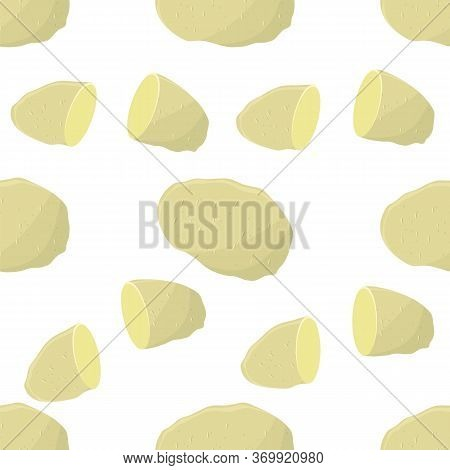 Potato Seamless Pattern On White Background. Whole, Slices, Half, Circle Potatoes. Tasty Vegetable.