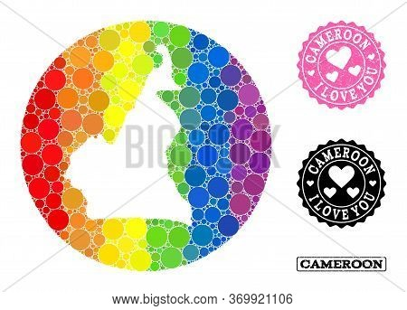 Vector Mosaic Lgbt Map Of Cameroon With Round Items, And Love Rubber Seal Stamp. Subtraction Round M