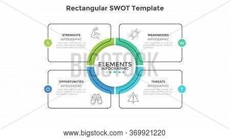 Swot Diagram With 4 Rectangular Elements. Comparison Chart, Analysis Of Advantages And Disadvantages