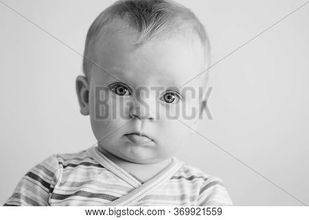 Funny Baby Portrait In Black And White