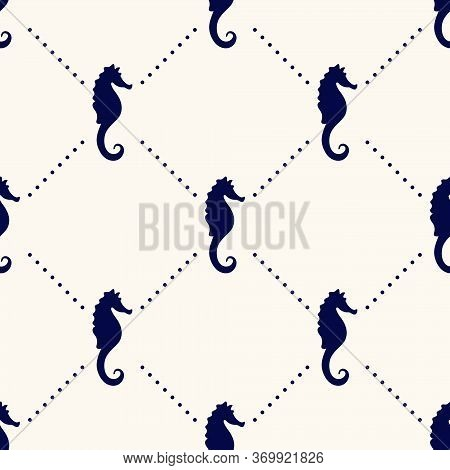 Vector Seamless Geometric Pattern With Silhouettes Of Sea Horses And Polka Dot. Maritime Backdrop. R
