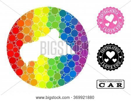Vector Mosaic Lgbt Map Of Central African Republic With Circle Elements, And Love Rubber Seal. Hole