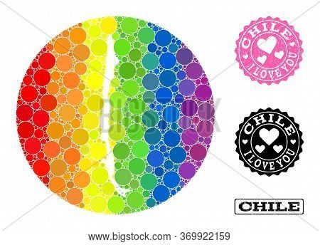 Vector Mosaic Lgbt Map Of Chile With Round Blots, And Love Scratched Seal. Subtraction Round Map Of