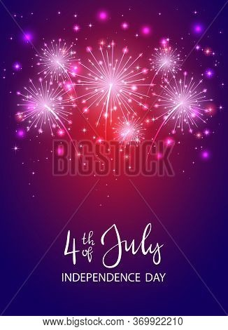 Text 4th Of July And Independence Day With Shiny Fireworks And Stars On Dark Violet Background. Inde