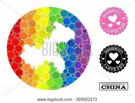 Vector Mosaic Lgbt Map Of Chongqing Municipality With Round Items, And Love Grunge Seal Stamp. Hole