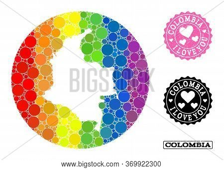 Vector Mosaic Lgbt Map Of Colombia Of Circle Dots, And Love Rubber Seal. Stencil Round Map Of Colomb