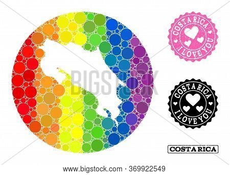 Vector Mosaic Lgbt Map Of Costa Rica Of Circle Items, And Love Scratched Seal. Hole Round Map Of Cos