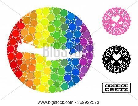 Vector Mosaic Lgbt Map Of Crete Island With Circle Dots, And Love Scratched Stamp. Stencil Circle Ma