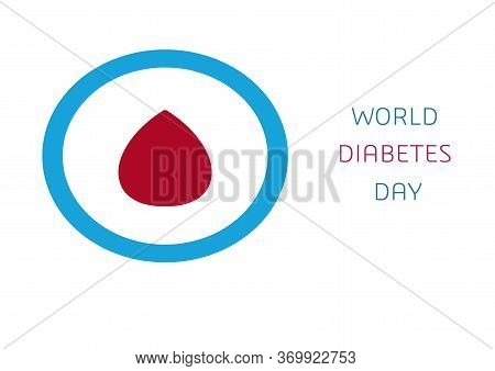 World Diabetes Day, Abstract Logo. Red Drop Of Blood In A Blue Round Frame. Medical Symbol Diabetes.