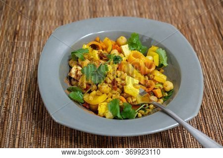 A Vegetarian Meal With A Complete Set Of Amino-acids (protein), Beans (tofu And Garbanzo Beans) And