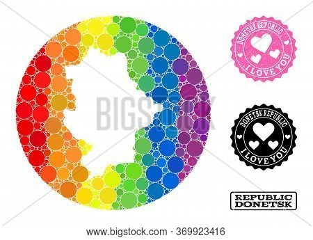 Vector Mosaic Lgbt Map Of Donetsk Republic With Spheric Elements, And Love Grunge Seal Stamp. Hole R
